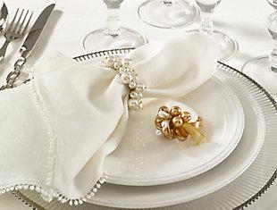 Saro Lifestyle Saro Ivory Faux-pearl Napkin Ring (Set of 4), , rollover