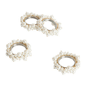 Saro Lifestyle Saro Ivory Faux-pearl Napkin Ring (Set of 4), , large