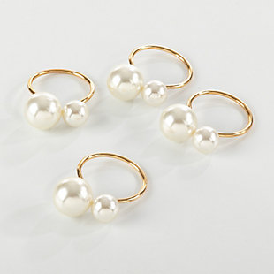 Saro Lifestyle Faux Pearl Napkin Ring (Set of 4), Gold, large