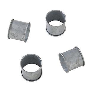 Saro Lifestyle Galvanized Design Rustic Modern Style Metal Napkin Ring (Set of 4), , large
