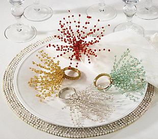 Saro Lifestyle Beaded Spray Design Napkin Ring (Set of 4), Gold, large