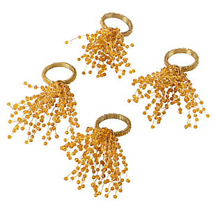 Saro Lifestyle Beaded Spray Design Napkin Ring (Set of 4), Gold, large
