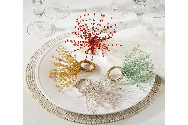 Saro Lifestyle Beaded Spray Design Napkin Ring (Set of 4), Red, large