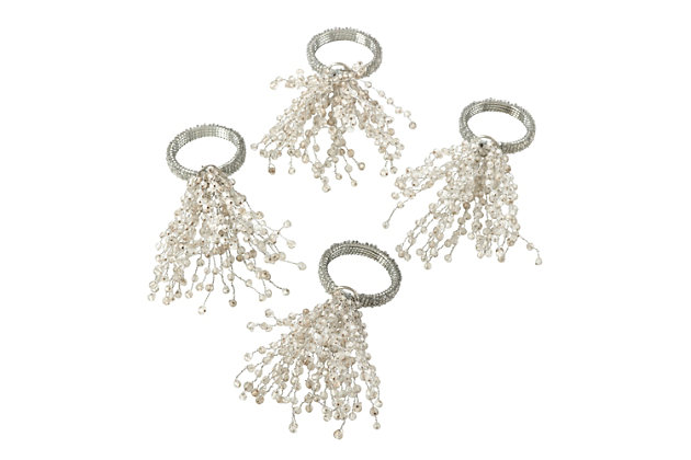 Saro Lifestyle Beaded Spray Design Napkin Ring (Set of 4), Silver, large