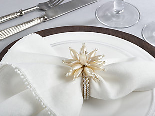Saro Lifestyle Faux Pearl Flower Design Event Napkin Ring (Set of 4), , rollover