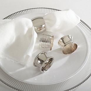 Saro Lifestyle Silver Round Napkin Ring (Set of 4), , rollover