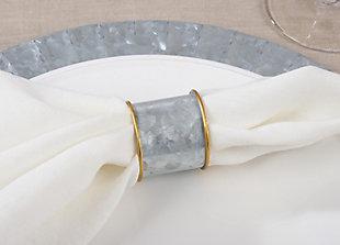 Saro Lifestyle Gold Rim Galvanized Napkin Ring (Set of 4), , rollover