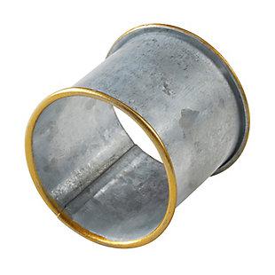 Saro Lifestyle Gold Rim Galvanized Napkin Ring (Set of 4), , large