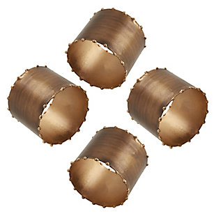 Saro Lifestyle Dot Rim Iron Napkin Ring (Set of 4), Bronze, large