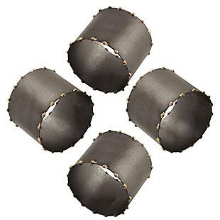 Saro Lifestyle Dot Rim Iron Napkin Ring (Set of 4), Gray, large
