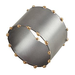 Saro Lifestyle Dot Rim Iron Napkin Ring (Set of 4), Silver, large