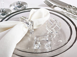 Saro Lifestyle Clear Glass Crystal Square Napkin Ring (Set of 4), Clear, rollover
