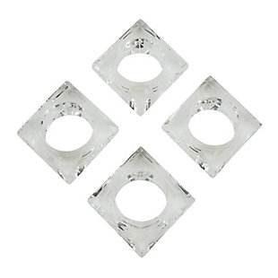 Saro Lifestyle Clear Glass Crystal Square Napkin Ring (Set of 4), Clear, large