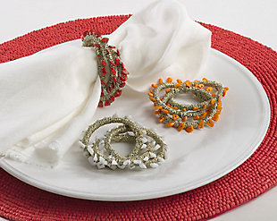 Saro Lifestyle Napkin Ring Collection Beaded Design (Set of 4), , rollover