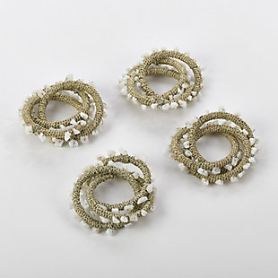 Saro Lifestyle Napkin Ring Collection Beaded Design (Set of 4), , large
