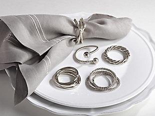 Saro Lifestyle Three Squares Design Napkin Ring (Set of 4), , rollover