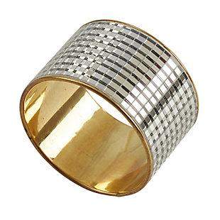 Saro Lifestyle Metal Napkin Ring with Mirror Design (Set of 4), , large