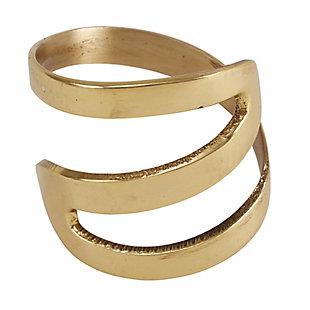 Saro Lifestyle Zig Zag Design Metal Napkin Ring (Set of 4), Gold, large