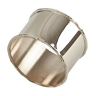 Saro Lifestyle Metal Napkin Ring with Silver Rim Design (Set of 4), , large