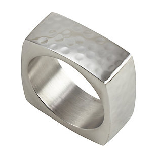 Saro Lifestyle Square Napkin Ring with Hammered Design (Set of 4), , large