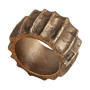 Saro Lifestyle Ribbed Design Napkin Ring (Set of 4), Gold, large