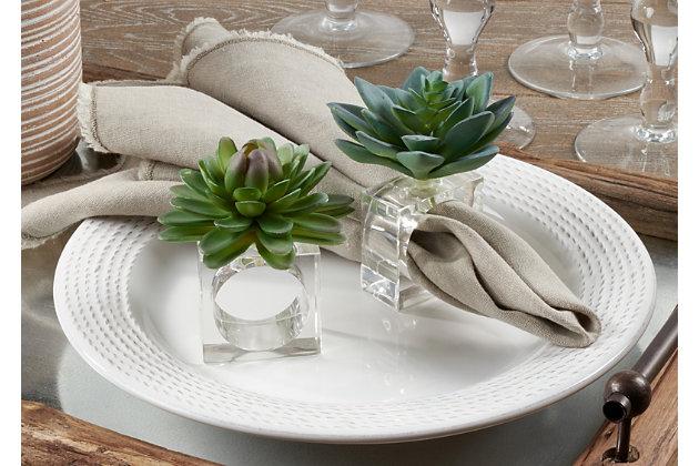 Saro Lifestyle Succulent Design Napkin Ring (Set of 4), , large