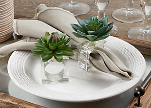 Saro Lifestyle Succulent Design Napkin Ring (Set of 4), , rollover