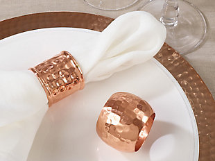 Saro Lifestyle Dinner Napkin Ring with Moscow Mule Ribbed Design (Set of 4), , rollover