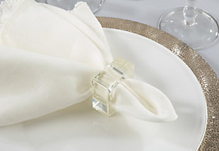 Saro Lifestyle Glass Napkin Ring with Square Design (Set of 4), , rollover