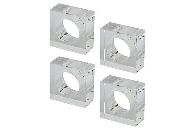 Saro Lifestyle Glass Napkin Ring with Square Design (Set of 4), , large