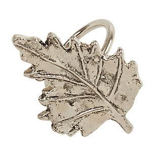Saro Lifestyle Metal Napkin Ring with Leaf Design (Set of 4), , large