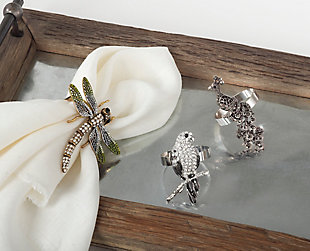 Saro Lifestyle Jeweled Dragonfly Napkin Ring (Set of 4), , rollover