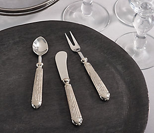 Saro Lifestyle Ribbed Design Texture Stainless Steel Cocktail Spoon (Set of 4), , rollover