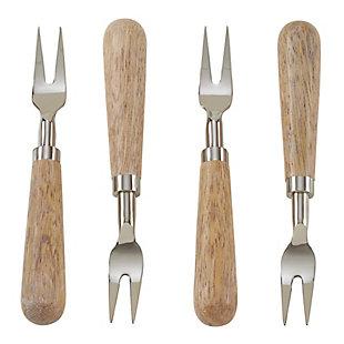 Saro Lifestyle Wooden Design 4-Piece Cocktail Fork Set, , large