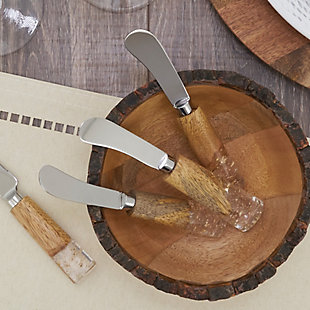 Saro Lifestyle Cocktail Knife Set with Wood and Resin Design, , rollover