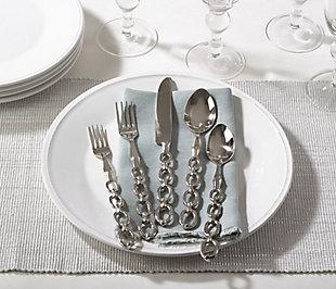 Saro Lifestyle Brass Flatware with Chain Design (Set of 5), , rollover