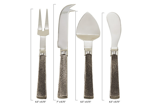 Saro Lifestyle 4-piece Cheese Cutlery Set with Square Handles, , large