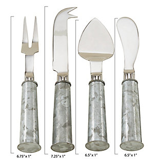 Saro Lifestyle 4-Piece Cheese Cutlery Set with Galvanized Handles, , large
