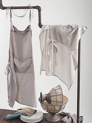 Saro Lifestyle Front Pocket Striped Linen Apron, Beige, rollover