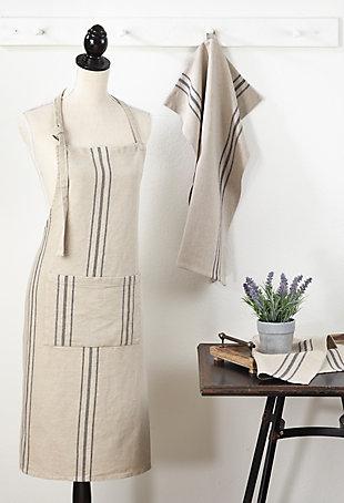 Saro Lifestyle Front Pocket Striped Linen Apron, , rollover