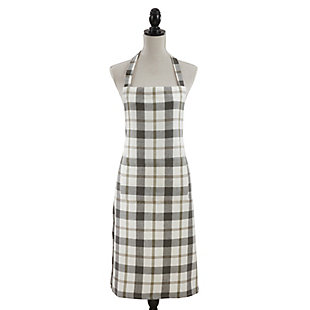 Saro Lifestyle Neutral Plaid Cotton Kitchen Apron, Beige/Brown, large