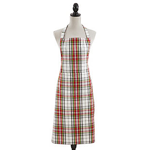 Saro Lifestyle Rich Plaid Cotton Kitchen Apron, Red/Green/White, large