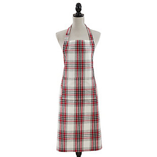 Saro Lifestyle Classic Plaid Cotton Kitchen Apron, Black/Red/White, large