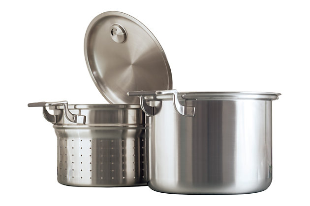 Cookcraft by Candace Cookcraft Original 8-Qt. Tri-Ply Stockpot Strainer/Steamer Set, , large