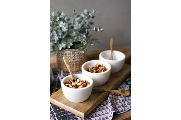 3 White Stone Serving Bowls with Mango Wood Spoons and Base, , large