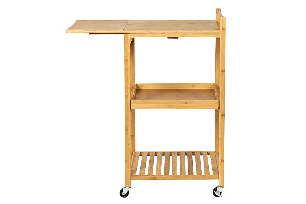 Lia 38-Inch Bamboo Kitchen Cart With Wheels, , large