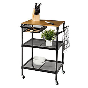 Medford 36-Inch Kitchen Cart With Wheels, Storage Drawer and Handle, Black, , large