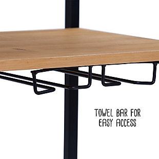 Lynn Industrial Rolling Bar Cart With Removable Serving Tray, , large