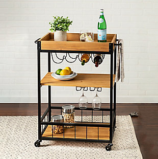 Lynn Industrial Rolling Bar Cart With Removable Serving Tray, , rollover