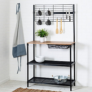 Siri 65-Inch Bakers Rack With Cutting Board and Hanging Storage, Black, , rollover